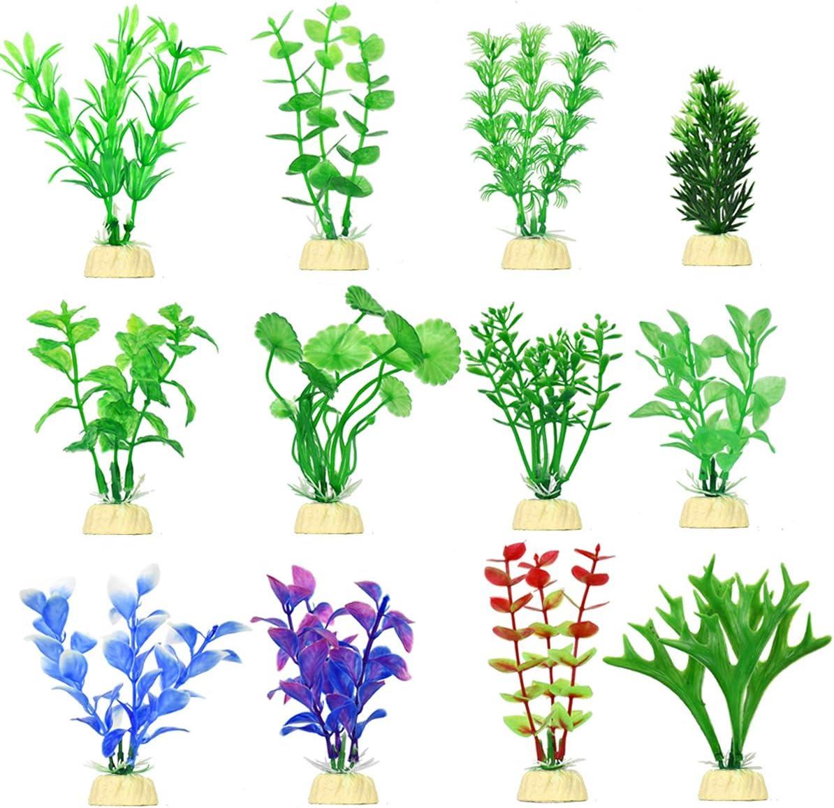 Artificial Aquarium Plants Set, Plastic Fish Tank Decoration, 12 Pack, Non-Toxic&Soft, Safe for Fish (A)