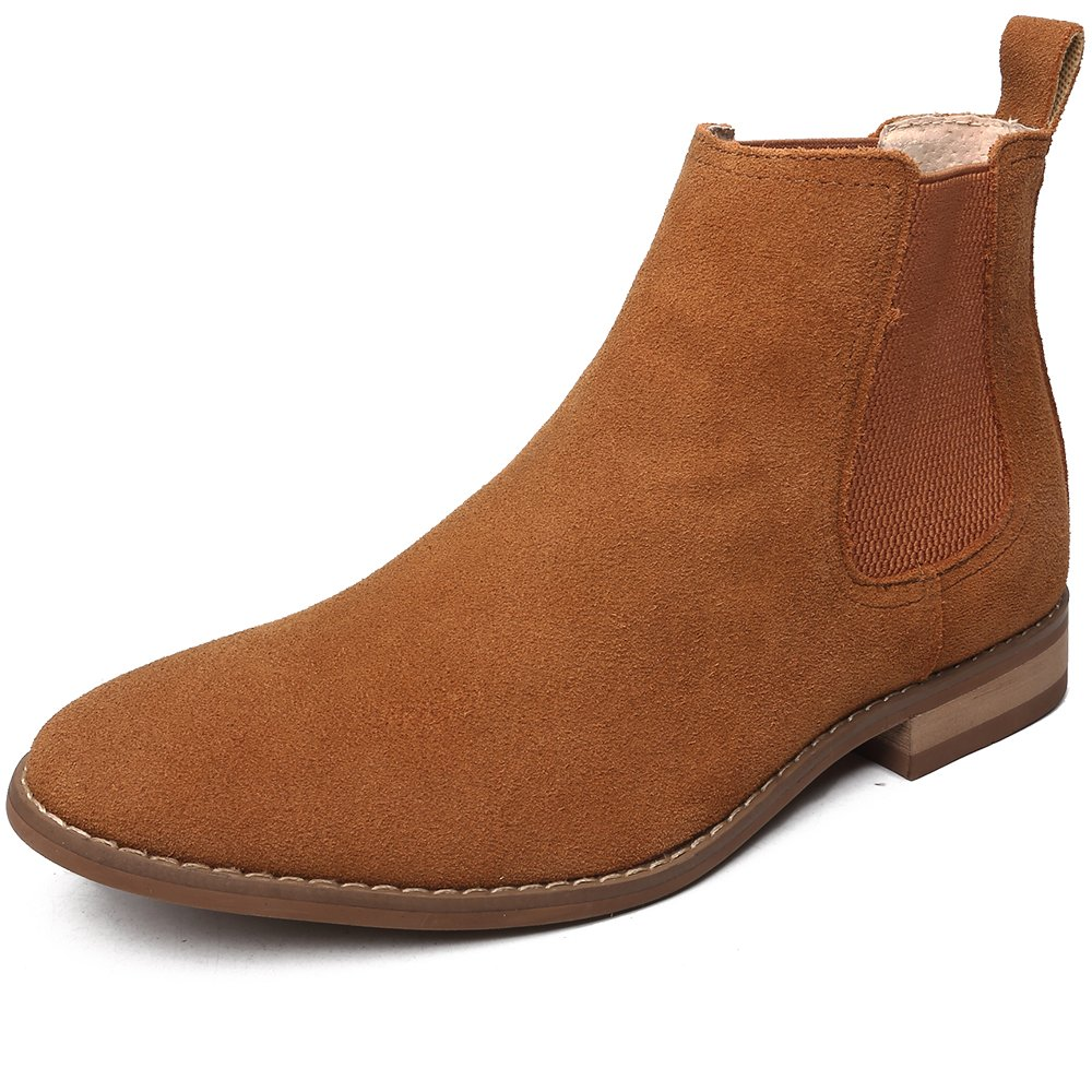 OUOUVALLEY Classic Slip-on Original Suede Chelsea Boots (11 N(A) US, Tan) by OUOUVALLEY