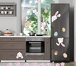 MISS FANTASY Easter Decorations Easter Eggs Stickers Easter Window Adhesive Clings Bunny Paw Decals Easter Wall Door Floor Decor Pack of 35 (Easter Bunny Sticker)