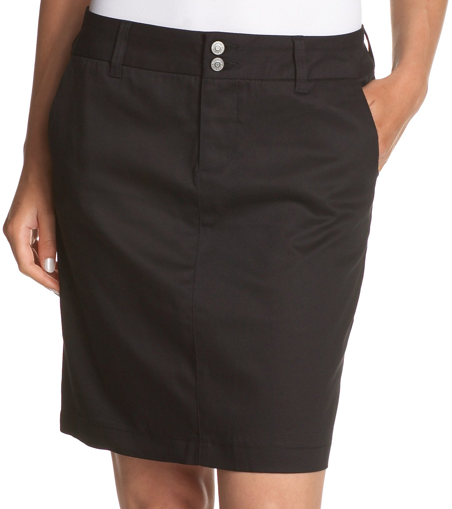 Dickies Girl Juniors 18'' 4 Pocket Double Button Skirt,Black,15