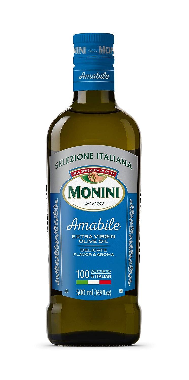 MONINI Premium Amabile Extra Virgin Olive Oil | Cold Extracted, Italian Imported | Selezione Italiana | Delicate Flavor & Aroma | 16.9oz