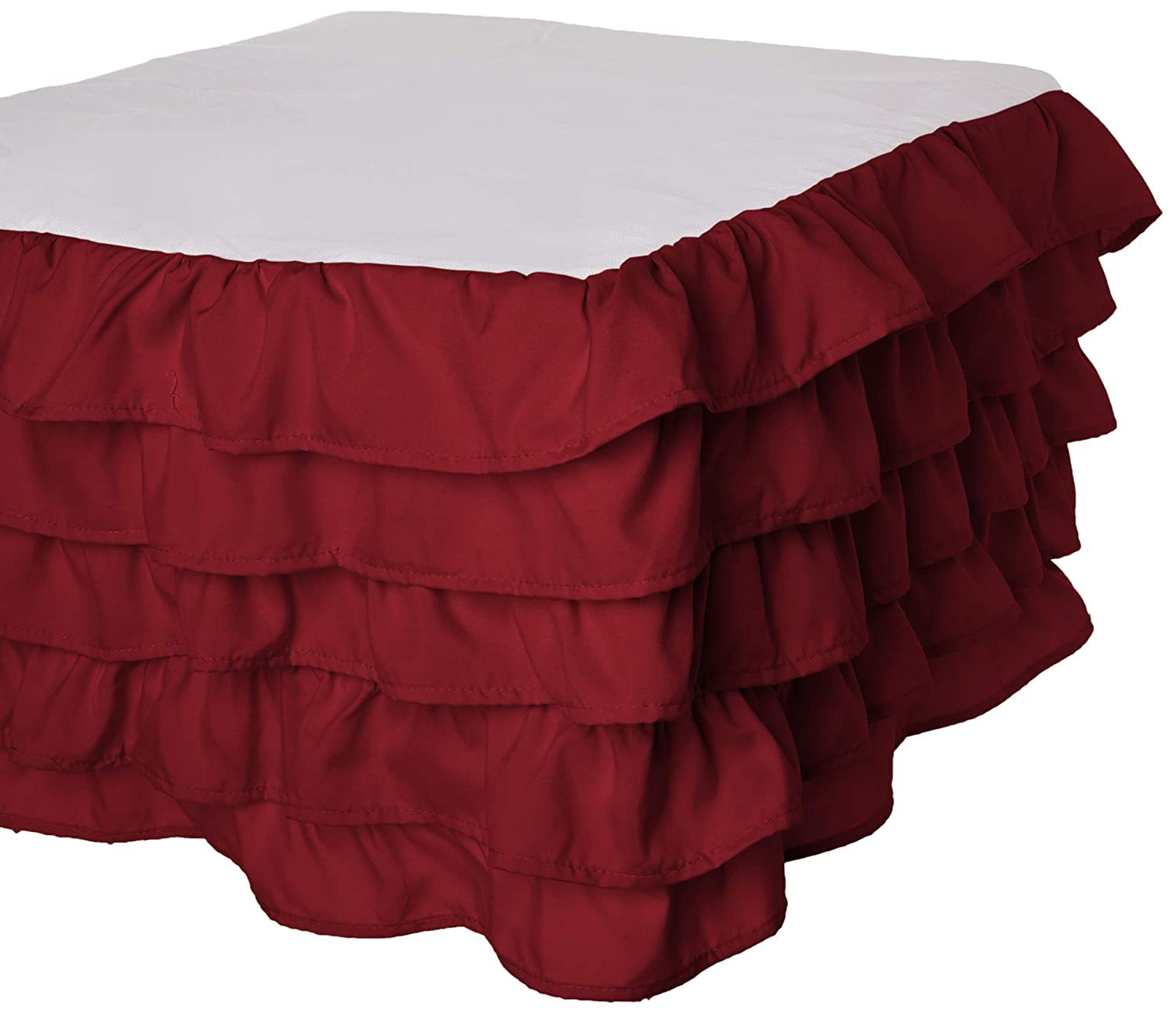 15inch Drop Pink Elegant Comfort Luxurious Premium Quality 1500 Thread Count Wrinkle and Fade Resistant Egyptian Quality Microfiber Multi-Ruffle Bed Skirt Full