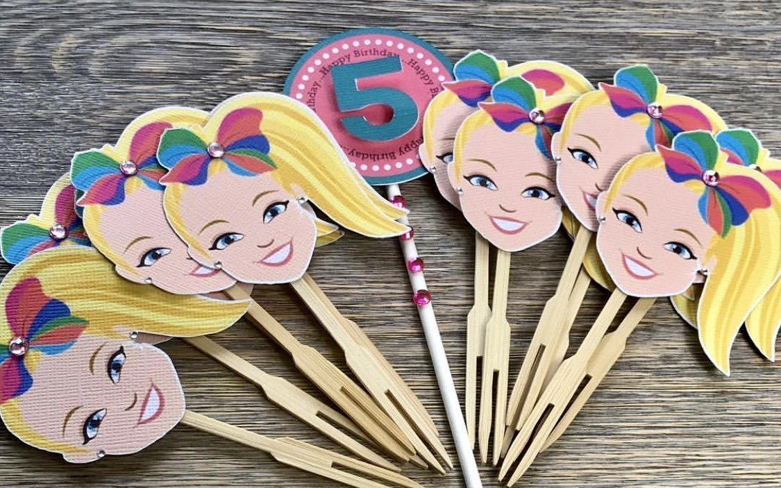 JoJo Siwa cupcake toppers/Paper print/Die Cuts/personalized Birthday decoration party supplies/Cake pops