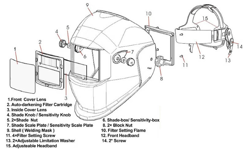 Amzdeal Welding Helmet Solar Power Auto Darkening Mask Din 9 Diagram 13 Tools Home Improvement