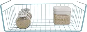 Smart Design Undershelf Storage Basket - Snug Fit Arms - Steel Metal Frame - Rust Resistant Finish - Cabinet, Pantry, & Shelf Organization - Kitchen (Medium, Light Blue)