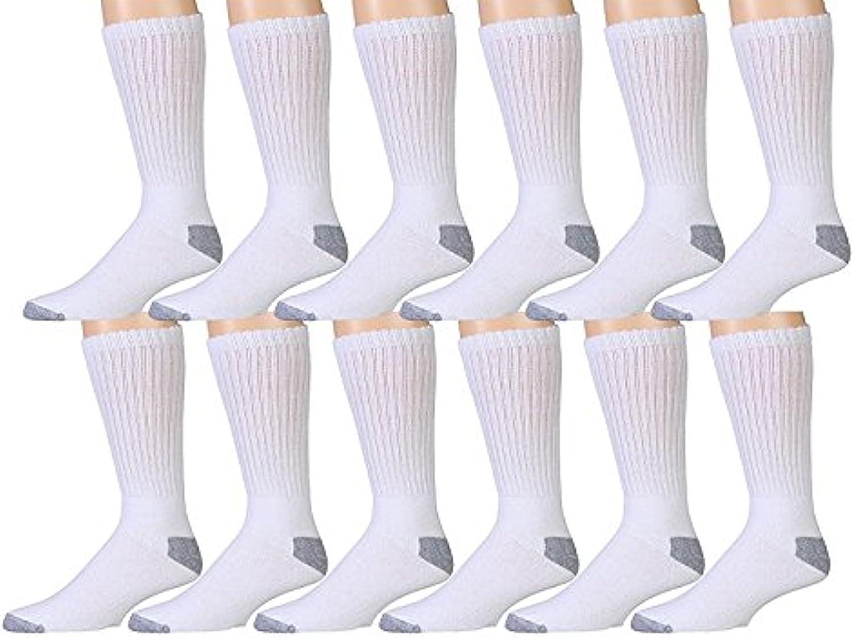 12 Pairs Value Pack of Wholesale Sock Deals Mens Ringspun Cotton Crew Socks