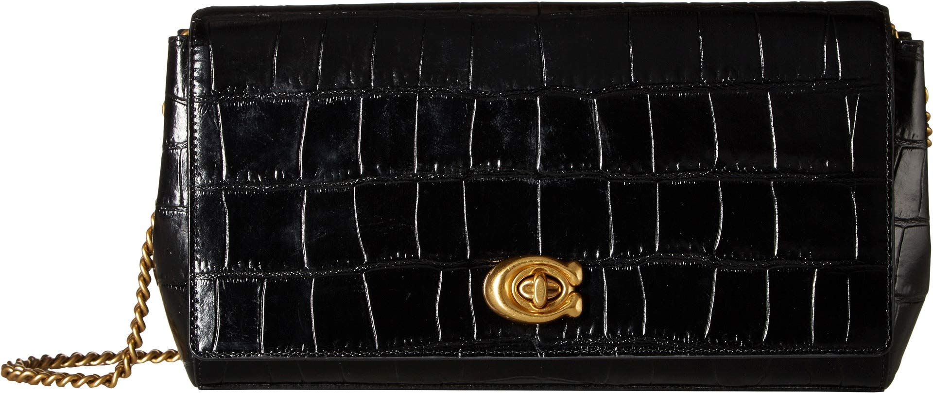 COACH Women's Embossed Croc Turnlock Clutch with Chain B4/Black One Size