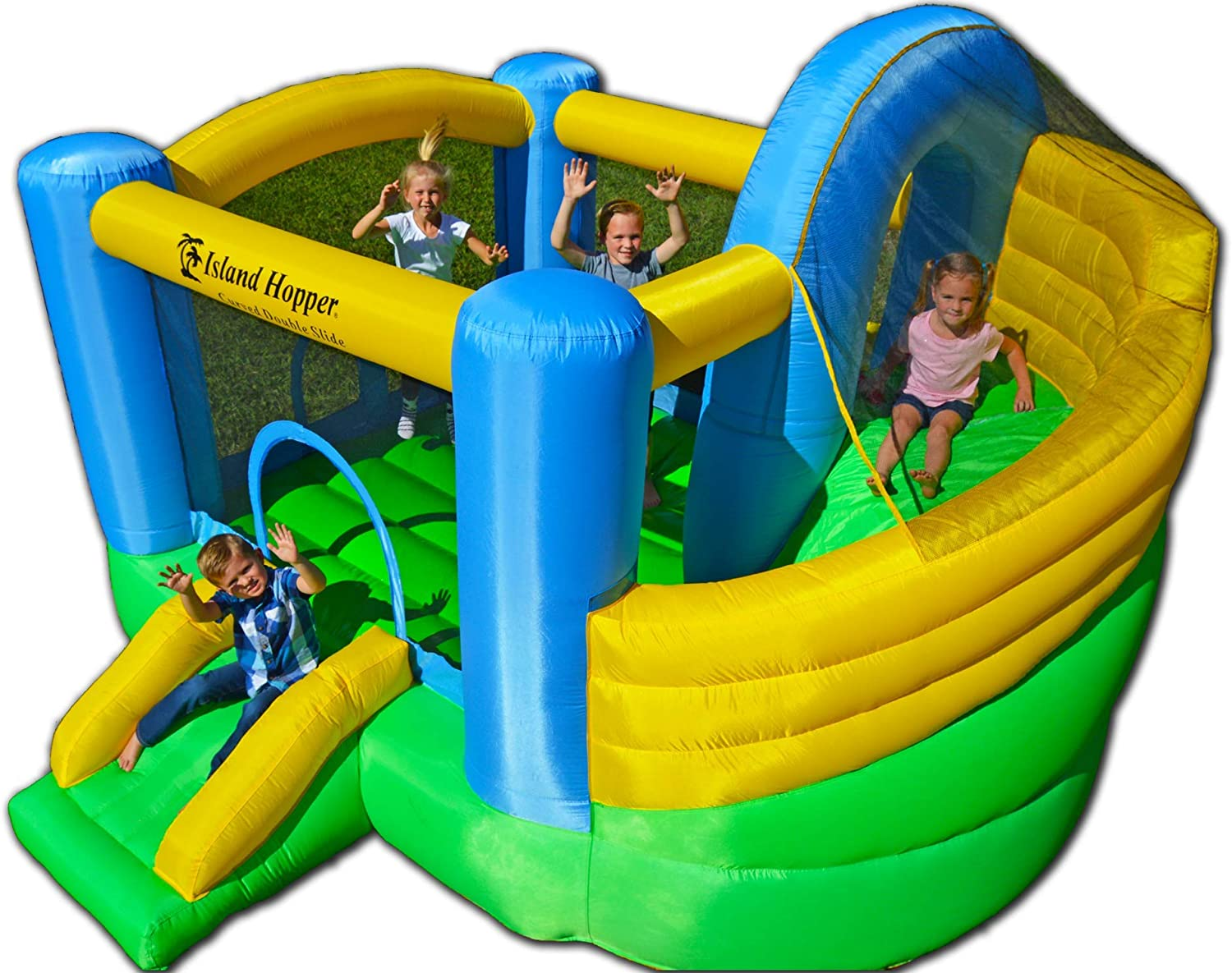 Curved Double Slide Recreational Kids Bounce House
