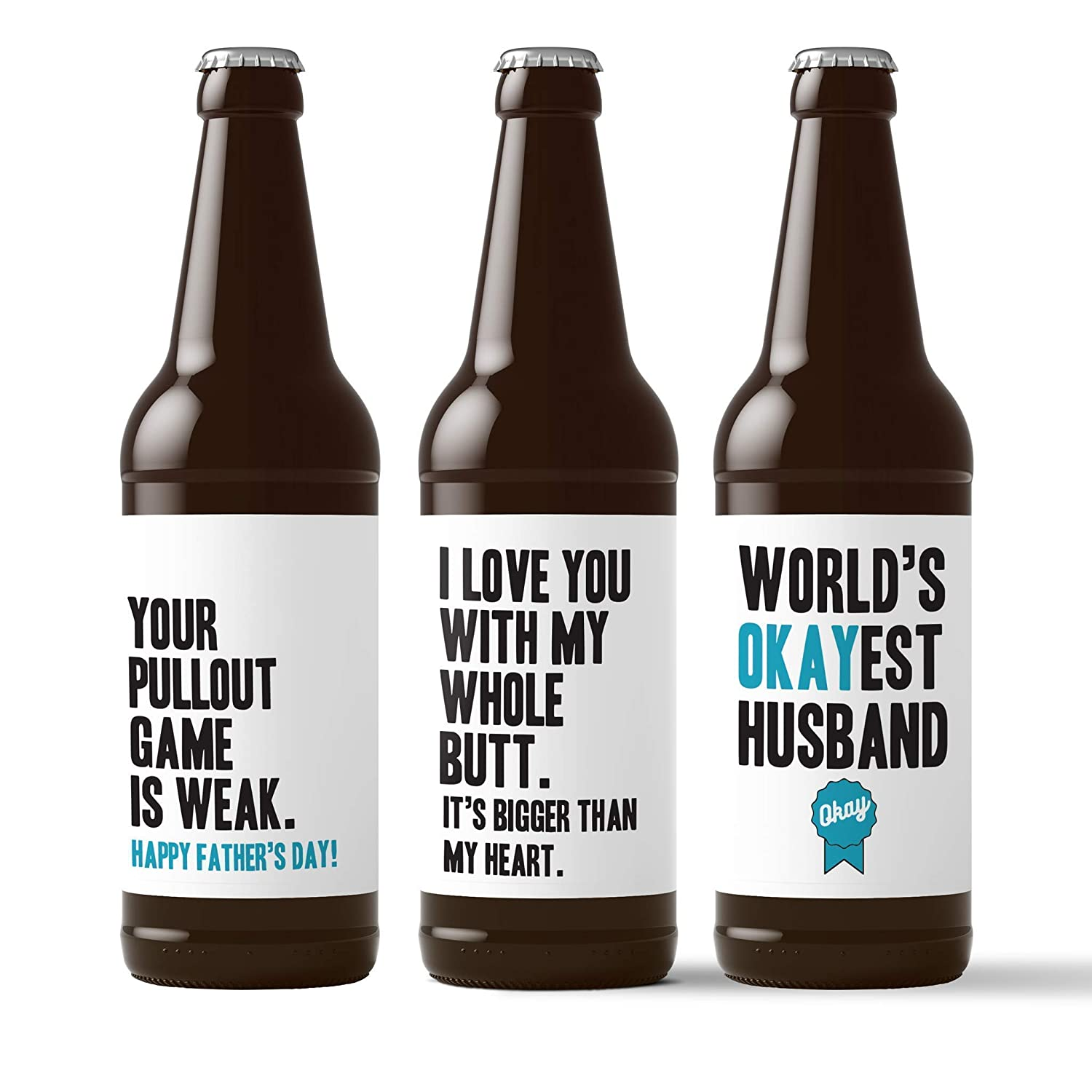 6 Pack Beer Stickers for 6-Pack Funny Present for Him DILF Youre My Favorite Thing To Do Love You With My Whole Butt Husband Fathers Day Beer Labels Worlds Okayest Husband