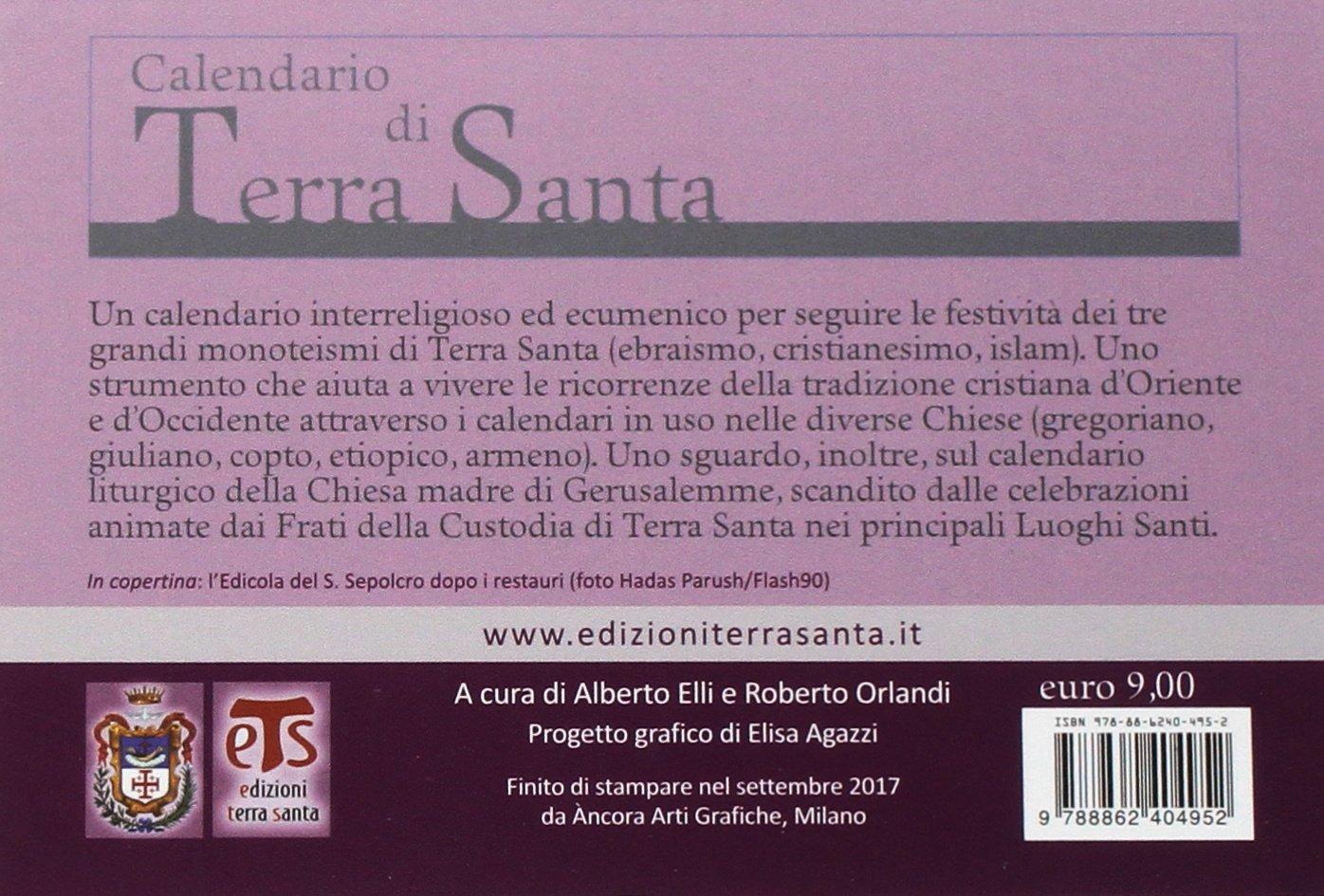 Calendario Gregoriano Santi.Amazon It Calendario Di Terra Santa 2017 Da Tavolo Aa Vv