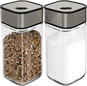 Salt and Pepper Shakers Set with Adjustable Pour Holes - Salt Shakers - Stainless Steel with Clear Glass Bottom (2-Pc. Set)