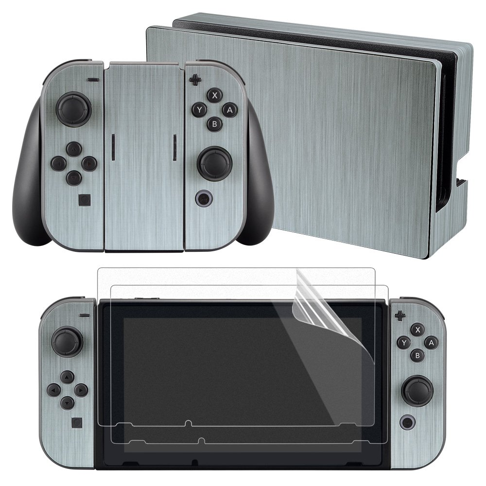 eXtremeRate Full Set Faceplate Skin Decal Stickers for Nintendo Switch with 2Pcs Screen Protector (Console & Joy-con & Dock & Grip) - Steel Texture