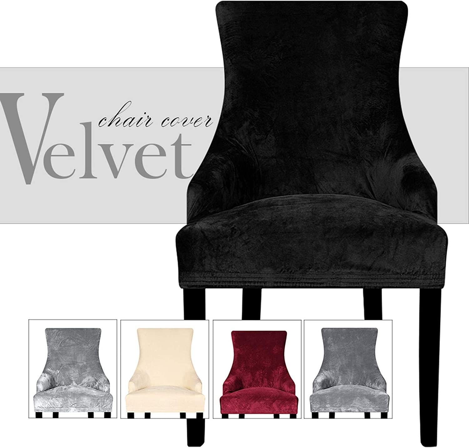 Lellen Velvet Stretch Wingback Chair Cover Slipcover - Reusable Arm Chair Protector Cover for Dining Room Banquet Home Decor etc Machine Washable Hand Washable(Set of 1,Black)
