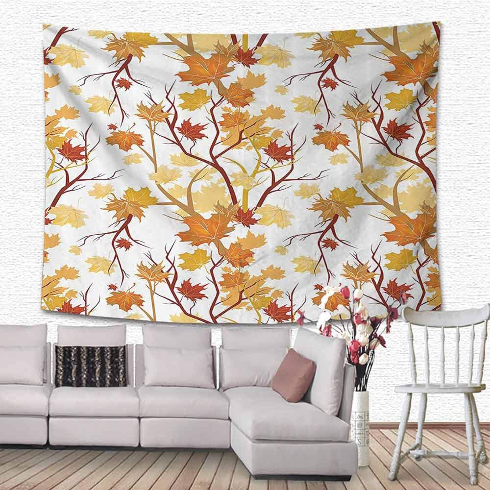 Zzmdear Wall Hanging Fall Decorations Swirling Fall Leaves Shady Season Elements Aesthetic Nature Art Image Patio Halloween Thanksgiving Christmas Party Wedding Decor, 70''x70'', Yellow Orange by Zzmdear