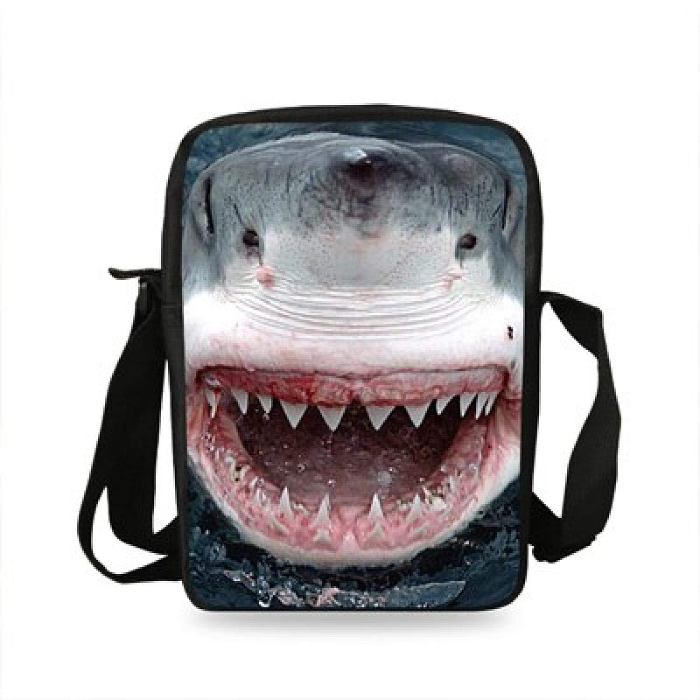 Small Messenger Bag Single Travel Men Bag Girls Boys Crazy Animal Shark Shoulder Bag for Women Girls Book Bag,7S930
