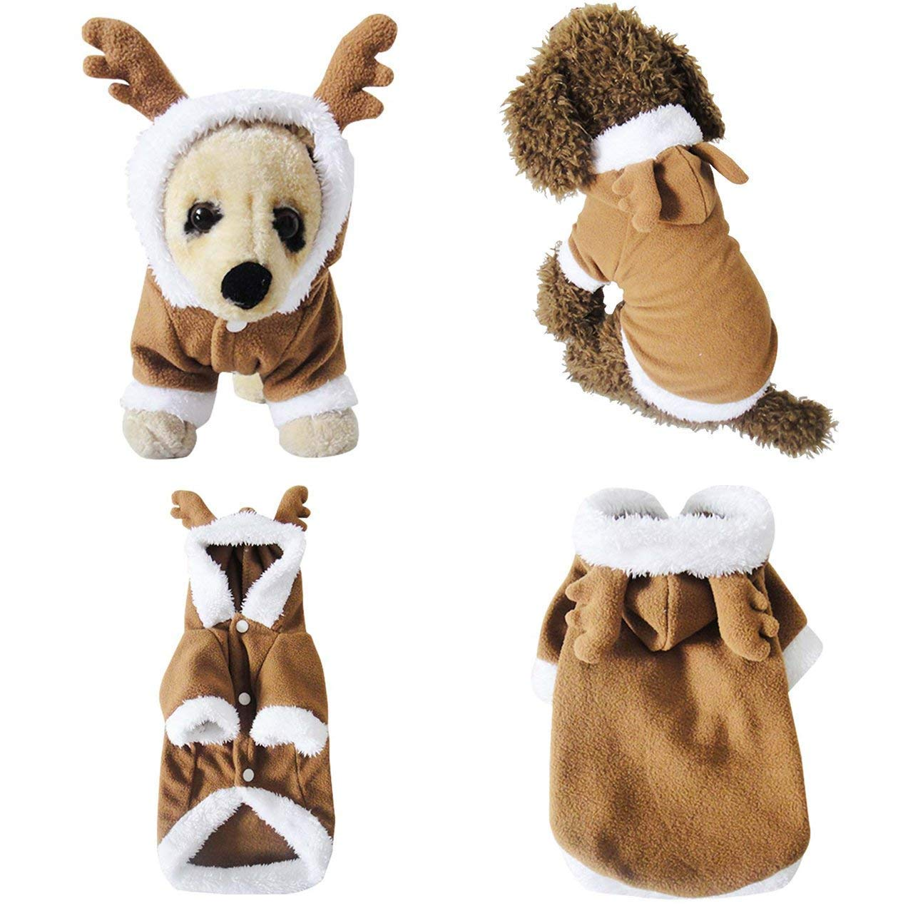 M for 11.0\ Mogoko Dog Cat Christmas Reindeer Costume, Funny Pet Elk Costumes Cosplay Dress, Puppy Fleece Outfits Warm Hoodie Animal Festival Apparel Clothes (M Size)