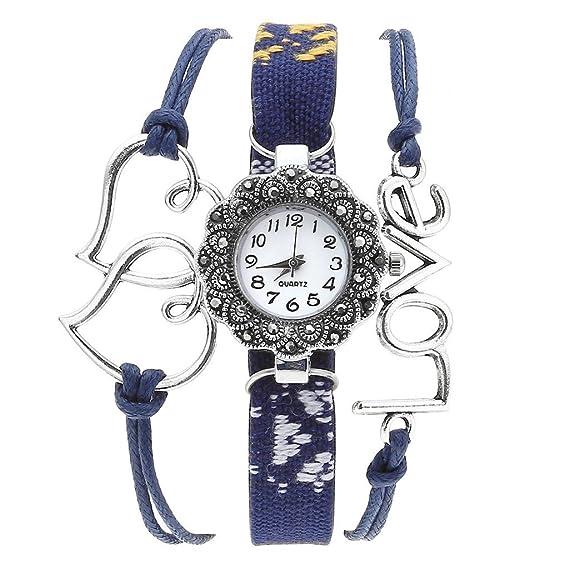jsdde Relojes, Vintage ethnisch Brazo Maduro Reloj de Pulsera con Brillantes Love Corazón Mujer Piel
