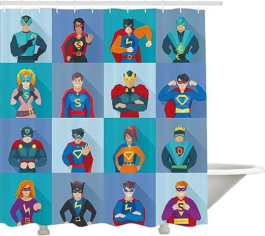 Yeuss Cortina de ducha Superhéroe, personajes con poderes ...