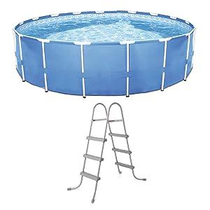 """Bestway Steel Frame Pool w/ Filter Pump & 36"""" Steel Pool Ladder w/ No-Slip Steps"""
