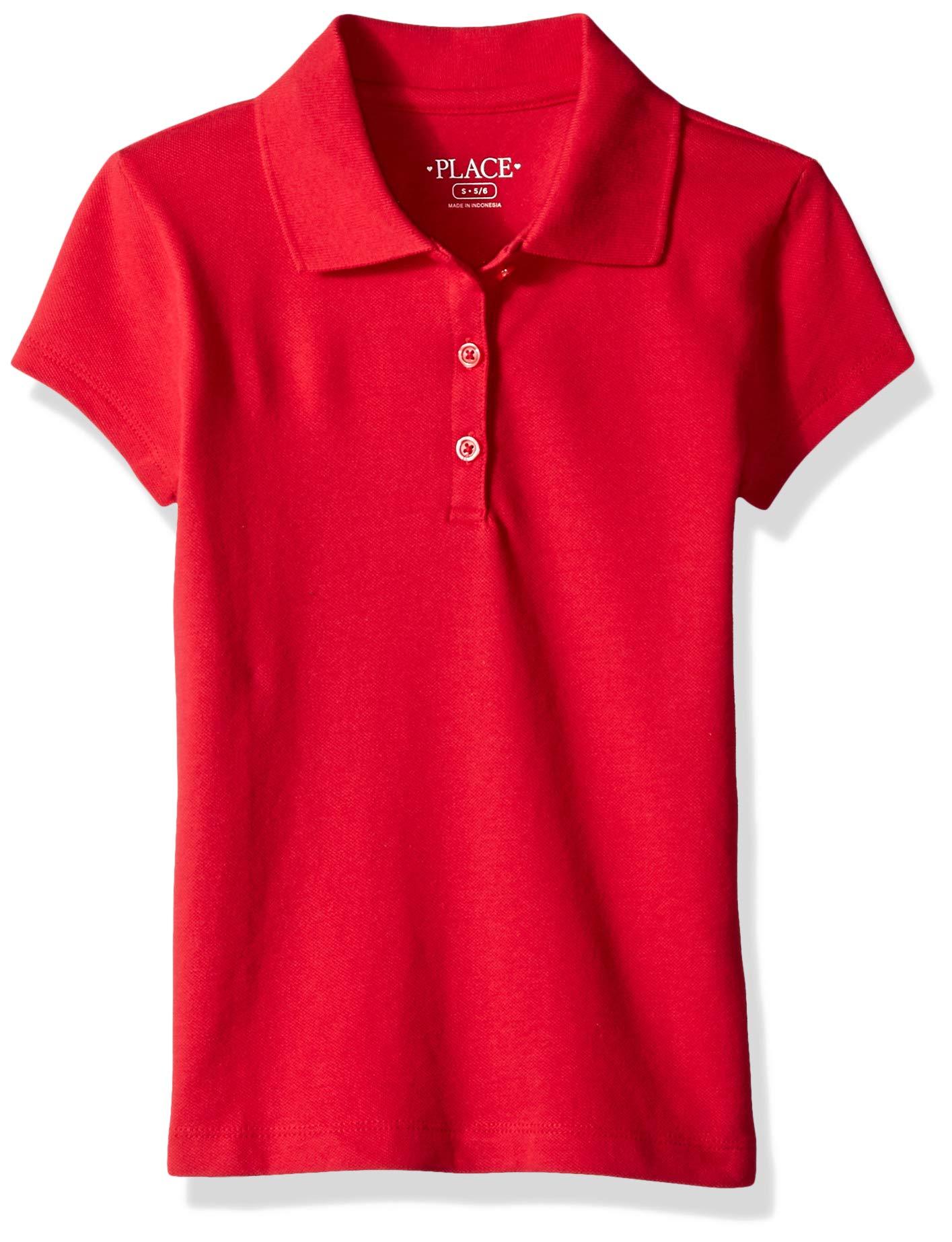 The Children's Place Big Girls' Uniform Short Sleeve Polo, Ruby 3378, M (7/8)