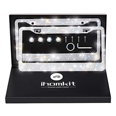 Glass Diamond Car License Plate Frame,Luxury Handcrafted Bling White Rhinestone Premium Stainless Steel License Plate Frame with Giftbox.AA SS16 Glitter Crystal (Glass Diamond Rhinestone): Automotive
