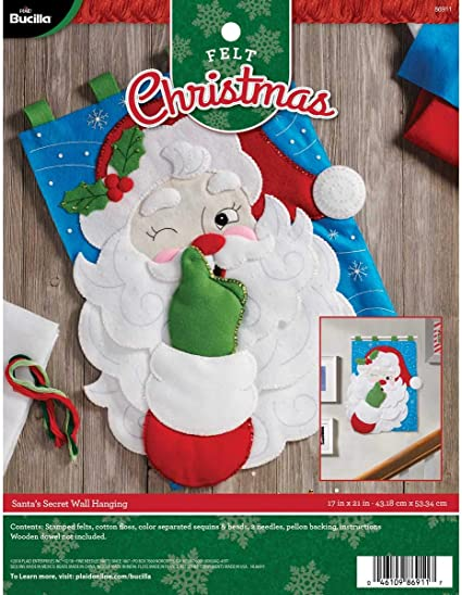 17 by 21 Santas Secret Bucilla 86911 Felt Applique Wall Hanging Kit