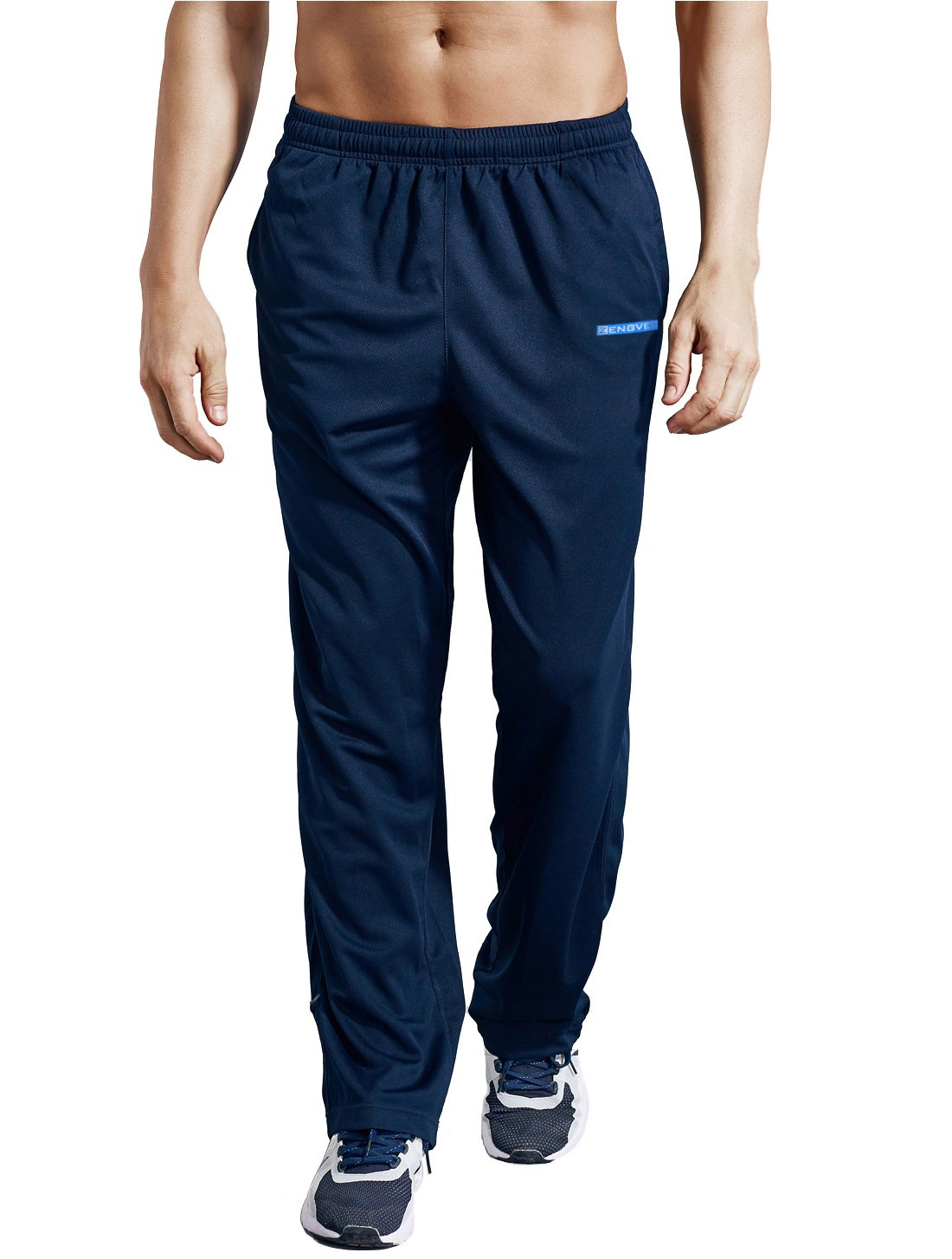ZENGVEE Men's Sweatpant with Pockets Open Bottom Athletic Pants for Jogging, Workout, Gym, Running, Training(0317-Navy Blue,S)