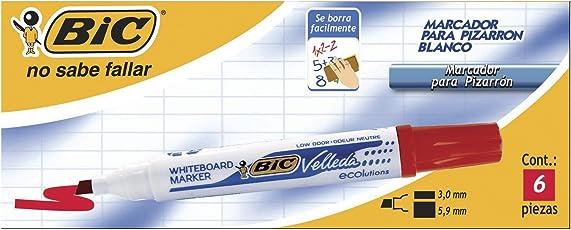 BIC Marcador Para Pizarron Blanco Cajilla 6 piezas rojo