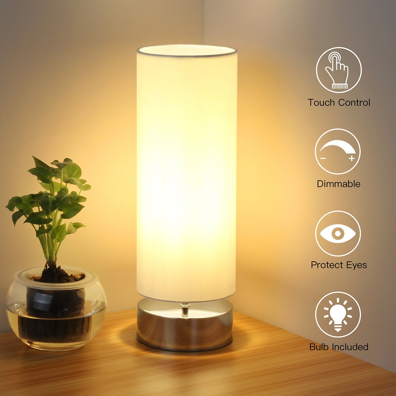 Touch Control Table Lamp Bedside Minimalist Desk Lamp Modern Accent Lamp Dimmable Touch Light with Cylinder Lamp Shade Night Light Nightstand Lamp for Bedroom Living Room Kitchen, E26 Bulb Included by Seaside village (Image #2)