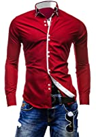 Lyon Becker® Stylish Mens Slim Fit Casual Italian Double Collar Shirt Long Sleeve M L XL XXL DC12