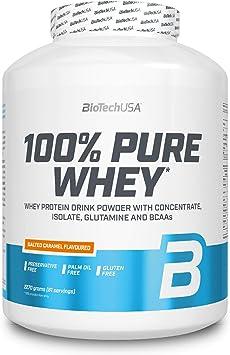 BioTechUSA 100% Pure Whey Complejo de proteína de suero, con aminoácidos añadidos y edulcorantes, sin conservantes, 2.27 kg, Caramelo Salado
