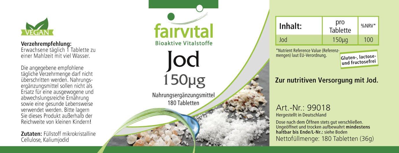 fairvital - 180 comprimidos de yodo - Altamente concentrado (150 mcg) - De yoduro de potasio: Amazon.es: Salud y cuidado personal
