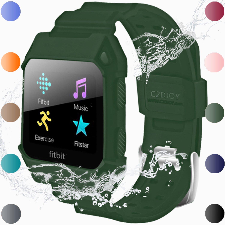 For Fitbit Ionic Case交換用バンド – c2djoy Rugged保護フレームケースアクセサリースポーツバンドFitbit Ionic腕時計サイズ( 5.5 – 8.1インチ) B076CWMZGV Army grn 5.5-6.7