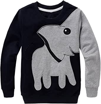 Toddler Boys Sweatshirt Casual Spring T Shirt Tops for Kids 2-7 Years Black