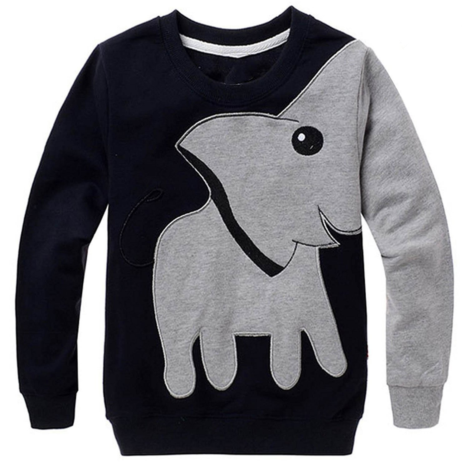LitBud Toddler Boys Elephant Shirt for Kids Boy Sweatshirt Pullover Casual Spring Tops Jumpers Size 6-7 Years Black