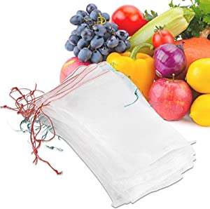 """METCRY 50 Pcs Netting Bags, Garden Plant Fruit Protect Drawstring Net Bag Insects Mosquito Bug Net Barrier Bag Mesh Against Insect Pest Bird for Plant&Fruits (6"""" x 4"""")"""