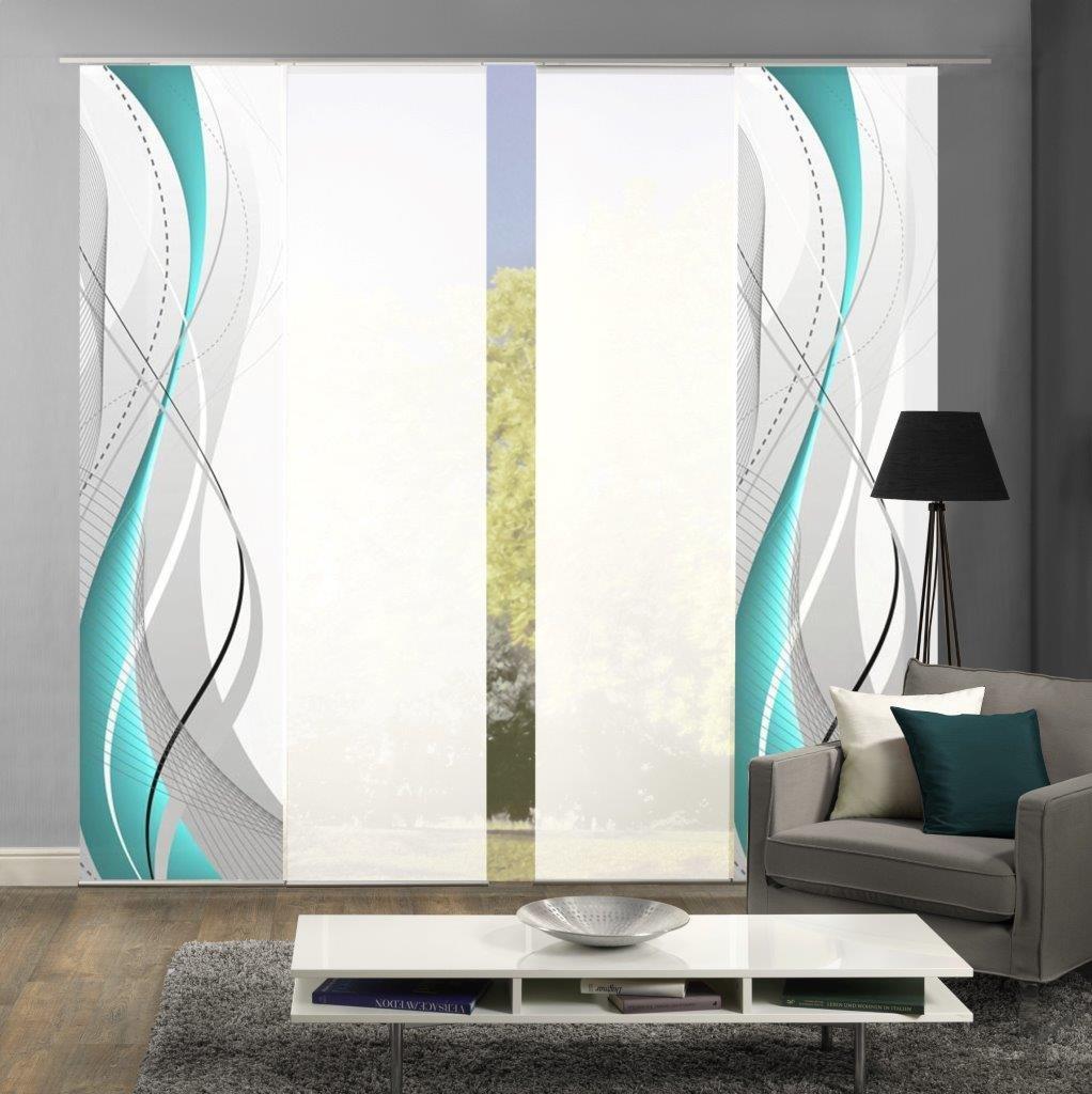 Home Fashion 94150 Flächenvorhänge 4er-Set WuXi, in Beere, grau und Petrol, Flächenvorhang Carlisle + Uni-Flächenvorhang ROM (Petrol)