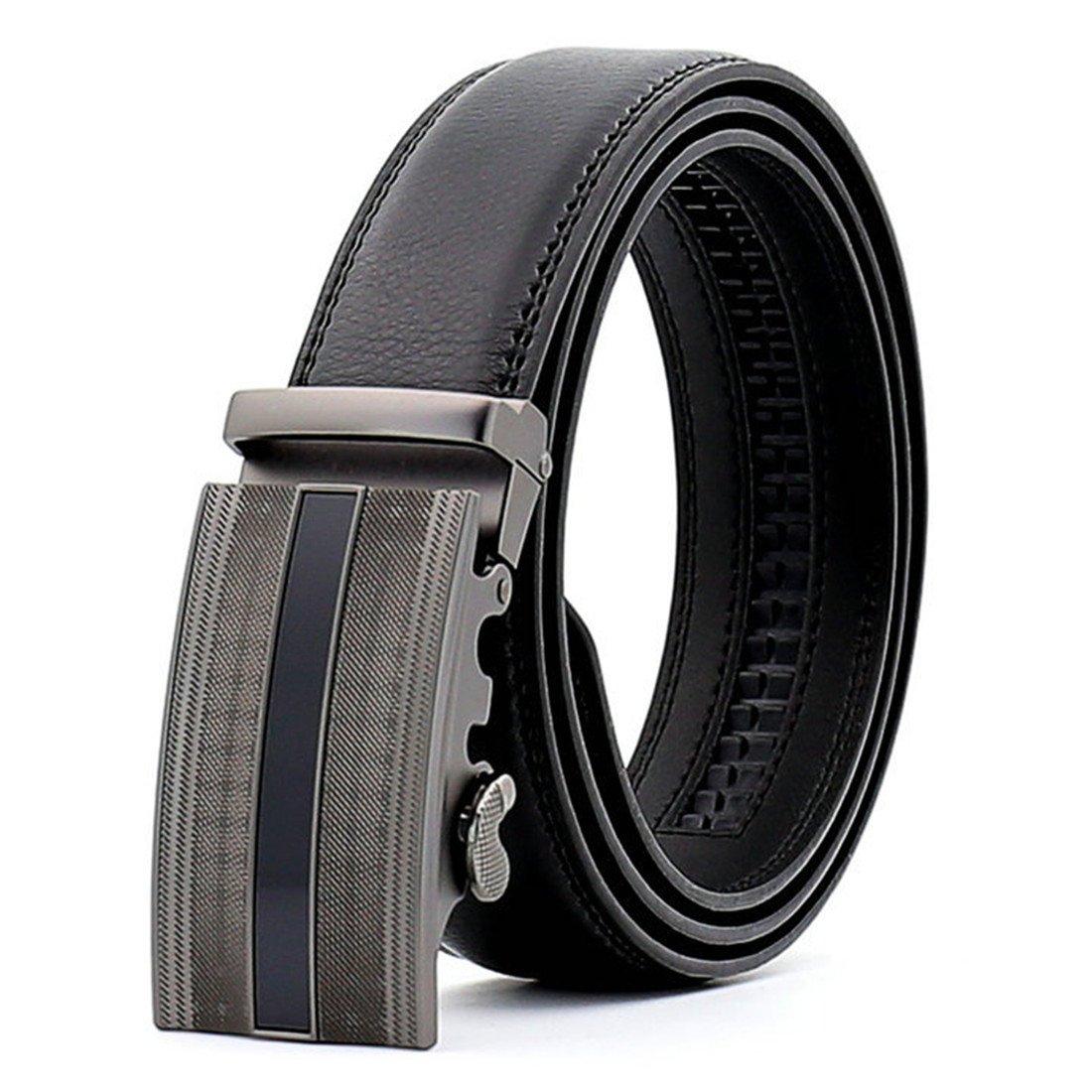 KHC Men's Leather Belt 100% Leather Dress Belt with Solid Buckle oversize Color Black Size 5XL apparel-belts