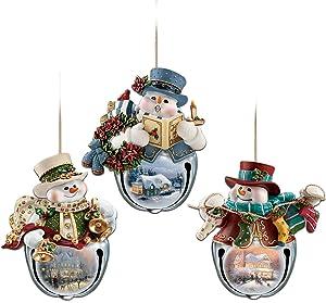 The Bradford Exchange Thomas Kinkade Snow-Bell Holidays Snowman Ornaments: Set of Three
