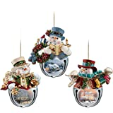 Thomas Kinkade Snow-Bell Holidays Snowman Ornaments: Set Of Three by The Bradford Exchange
