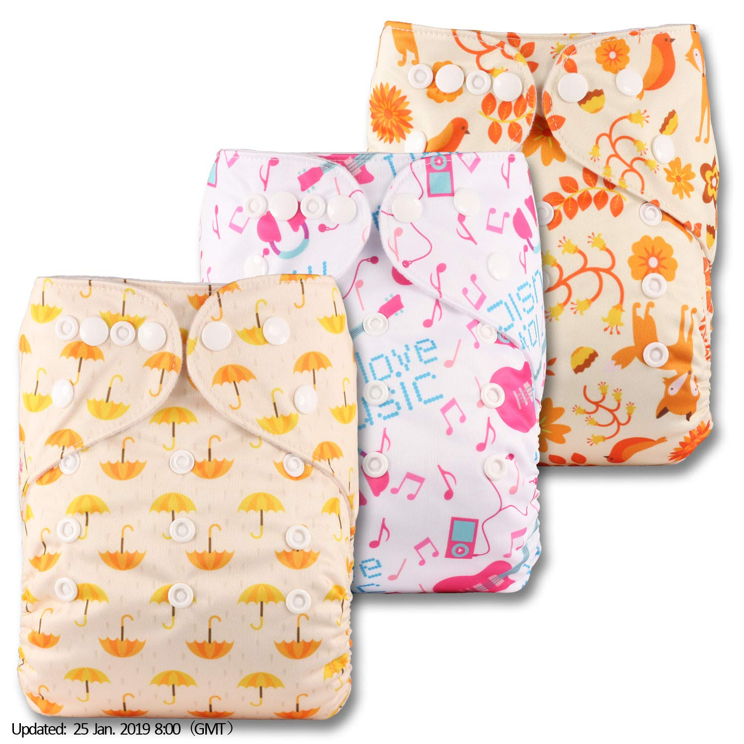 Reusable Pocket Cloth Nappy Without Insert Fastener: Popper Set of 3 Littles /& Bloomz Patterns 330