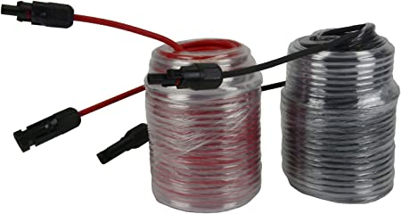 1 Pair 100 ft MC4 Solar Panel Extension Connector 12 AWG PV Cable Wire Blk//Red