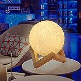 ベッドサイドランプ プレゼント 間接照明 ZOTO 月のライト 置物 ナイトライト 叩き調光/三色切り替え/無段階調光 USB充電式テーブルランプ 吊る可 寝かしつけ用 3Dプリント オススメ おしゃれ 高級上品(Ø13cm)