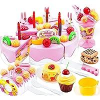 75 Piezas Niños plástico finja el juego educativo juguetes cocina pastel postre Navidad Set regalo juguete por más de 3 años edad niños Rosa