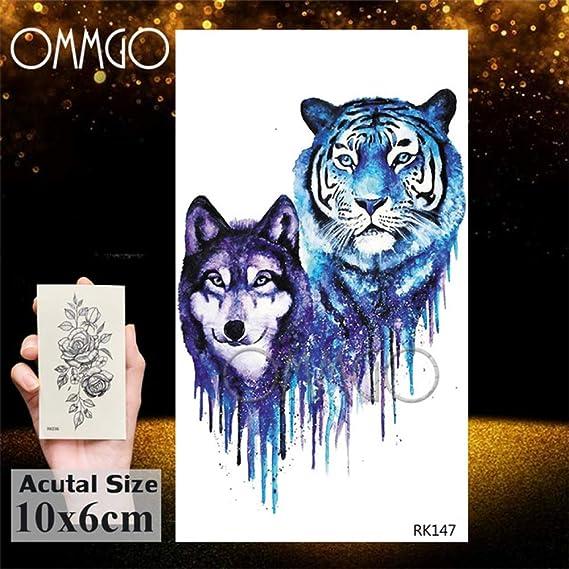 5Pcs- Gagalxy Acuarela Lion Tiger Tattoos Sticker Diamond Draw ...