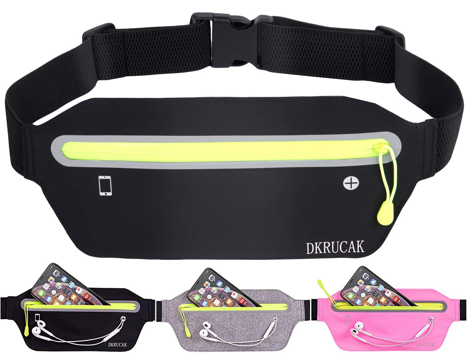 DKRUCAK Slim Running Belt Ultra Light Waist Pouch Fitness Workout Belt Sports Waist Pack Exercise Waist Bag for Women Men Fitness Exercise Marathon Sport Packs