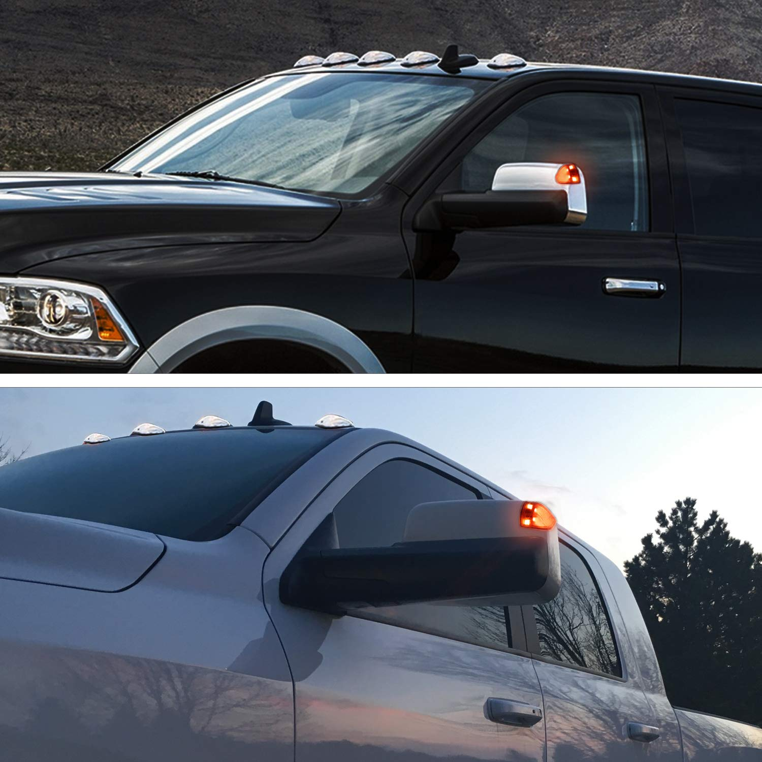 Pack of 2 HERCOO LED Side Mirror Turn Signal Light Left and Right Lamps Clear Cover Lens for 68302828AA 68302829AA Compatible with 2010-2018 Dodge Ram 1500 2500 3500 4500 5500