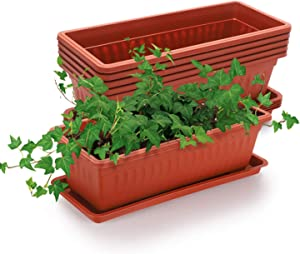 GROWNEER 6 Packs 15 Inches Terracotta Color Flower Window Box Plastic Vegetable Planters with 15 Pcs Plant Labels, for Windowsill, Patio, Garden, Home Décor, Porch