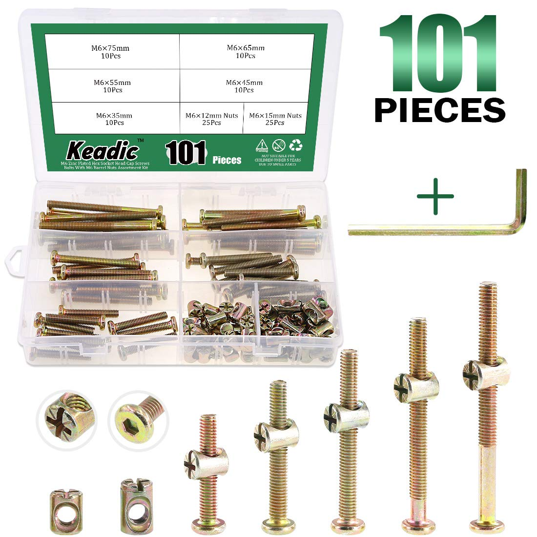 Keadic 100Pcs M6 Hex Socket Head Cap Screws Nuts, Zinc Plated Steel Barrel Bolt Nuts Hardware Replacement Kit for Furniture Cots Beds Crib, 1 Hex Key for Free - 35/45/55/65/75mm