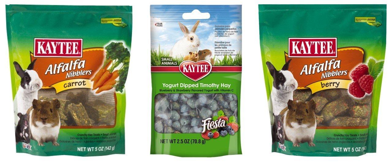 Kaytee Small Animal Treats 3 Flavor Variety Bundle (1) Each: Berry Alfalpha Nibblers, Yogurt Dipped Timothy Hay, Carrot Alfalpha Nibblers, 2.5-5 ounces